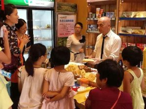 Presenting my bread to kids at a friend's shop